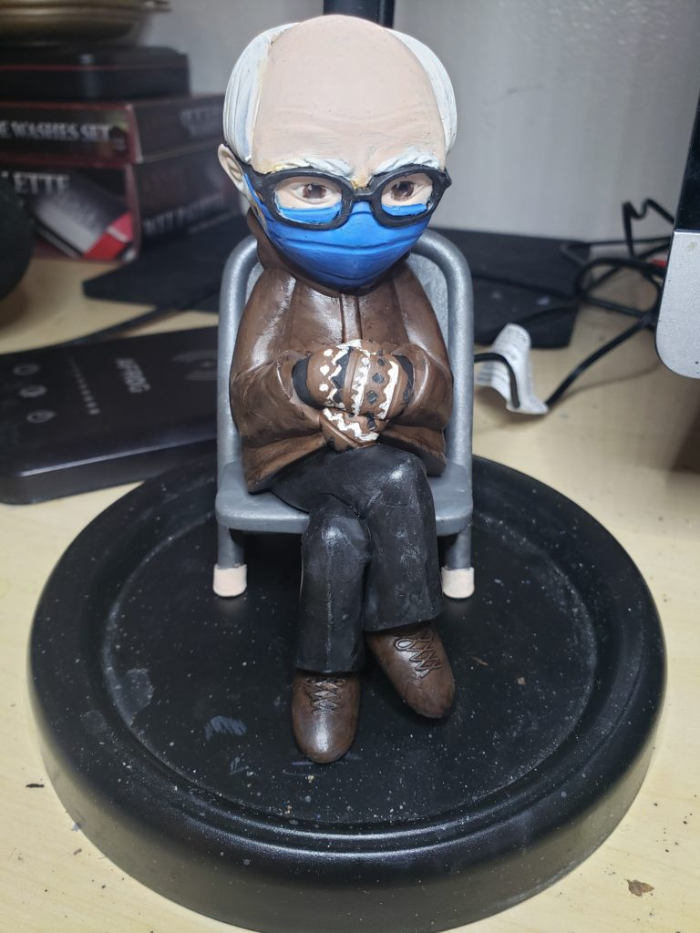 Painted Bernie Sanders with Mittens Model